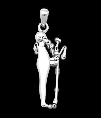 Zilveren Egyptische God Ptah kettinghanger