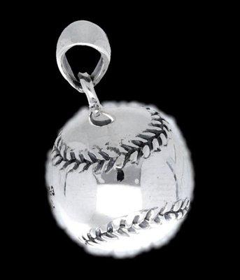 Zilveren Honkbal  kettinghanger