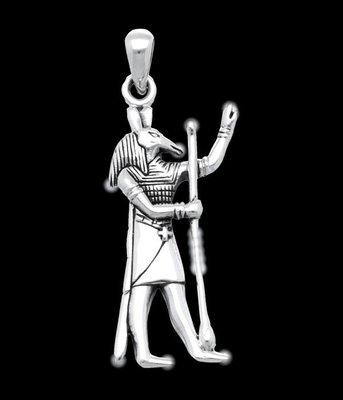 Zilveren Egyptische God Seth  kettinghanger