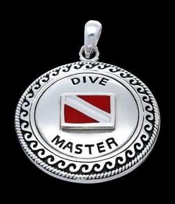Zilveren  Dive master met duikvlag kettinghanger