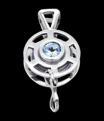 Zilveren Duik reel met blauw kristal kettinghanger