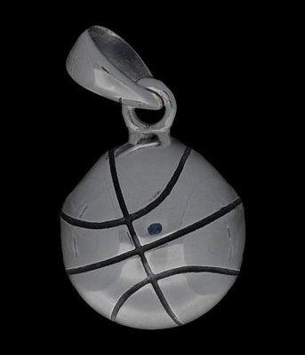 Zilveren Basketbal kettinghanger