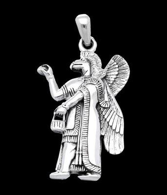 Zilveren Assyrische God Nisroch kettinghanger