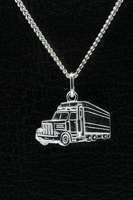 Zilveren Vrachtwagen ketting hanger - groot + gravering