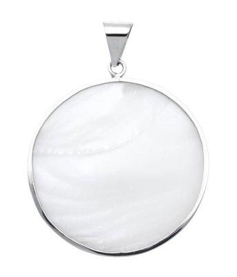 Zilveren Rond met schelp wit kettinghanger