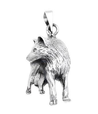 Zilveren Wolf kijkt achterom kettinghanger