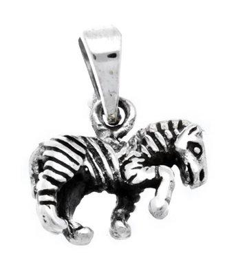 Zilveren Zebra kettinghanger