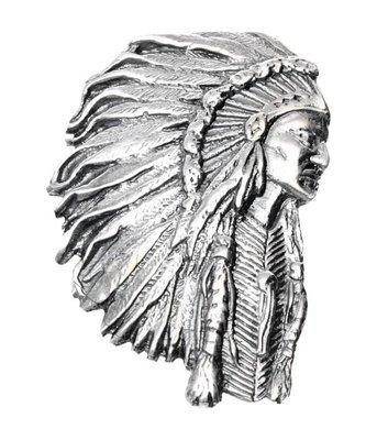 Zilveren Indiaan met tooi gezwart XL kettinghanger