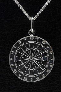 Zilveren Dartbord ketting hanger