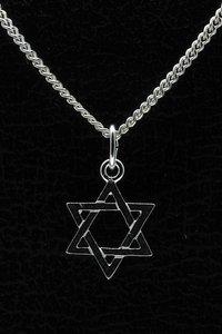 Zilveren David ster ketting hanger