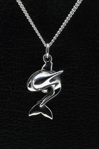 Zilveren dolfijn hanger - bewegende staart