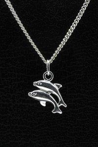 Zilveren Dolfijn ketting hanger - dubbel