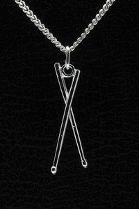 Zilveren Drumstokken ketting hanger