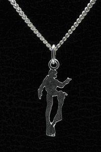 Zilveren Duiker ketting hanger - plat