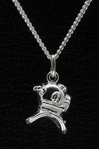 Zilveren Duikhelm ketting hanger