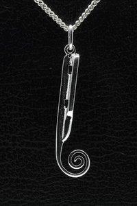 Zilveren Friese doorloper schaats ketting hanger - groot