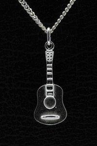 Zilveren Gitaar ketting hanger