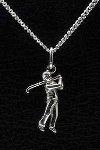 Zilveren Golfspeler ketting hanger