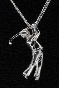 Zilveren Golfspeler ketting hanger - groot