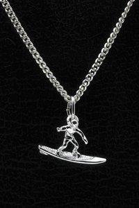 Zilveren Golfsurfer ketting hanger