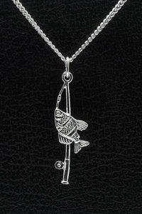 Zilveren Hengel ketting hanger - met vis