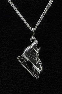 Zilveren Hockey schaats ketting hanger