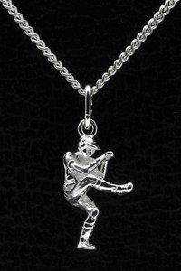 Zilveren Honkbal werper ketting hanger