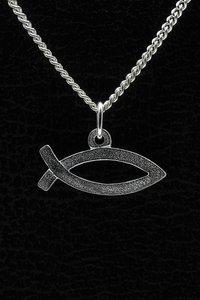 Zilveren Ichtus ketting hanger - breed