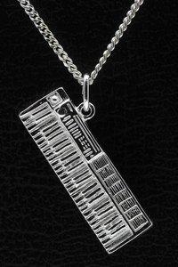 Zilveren Keyboard ketting hanger - groot