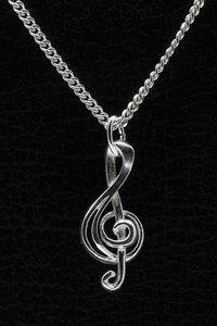 Zilveren Muzieksleutel ketting hanger - 1