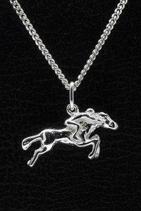 Zilveren Paard ketting hanger - met jockey