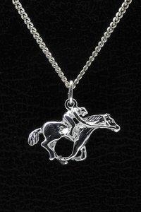 Zilveren Paard ketting hanger - met jockey 2