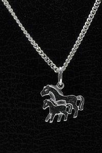 Zilveren Paard ketting hanger - duo