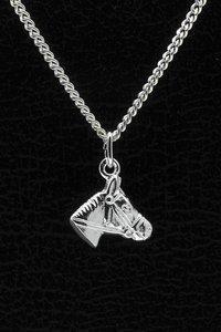 Zilveren Paardenhoofd ketting hanger - middel