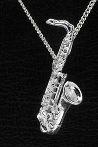Zilveren Saxofoon tenor ketting hanger