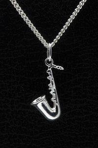 Zilveren Saxofoon ketting hanger - middel
