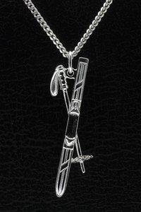 Zilveren Ski ketting hanger - met stok
