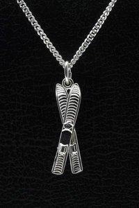 Zilveren Ski ketting hanger - paar