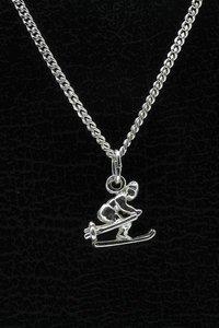 Zilveren Skier ketting hanger - klein 2