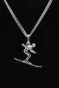 Zilveren Skier ketting hanger - middel
