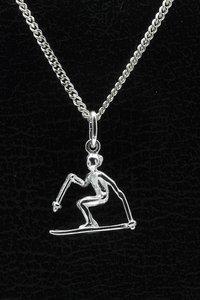 Zilveren Skier ketting hanger