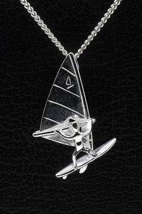 Zilveren Surfer ketting hanger - groot