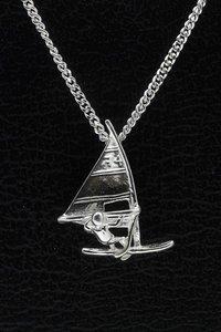 Zilveren Surfer ketting hanger - met nummer
