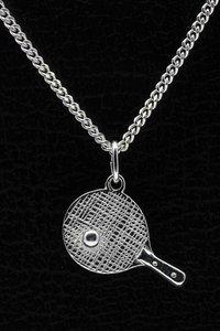 Zilveren Tafeltennis ketting hanger - bat met bal groot
