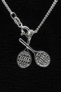 Zilveren Tennisracket ketting hanger - dubbel