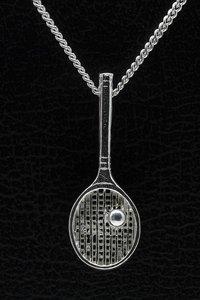 Zilveren Tennisracket ketting hanger - groot met bal