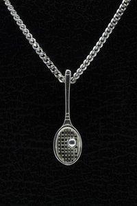 Zilveren Tennisracket ketting hanger - klein met bal