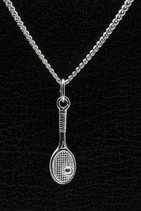 Zilveren Tennisracket ketting hanger - klein met bal 2