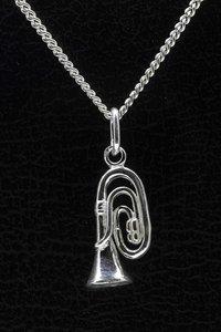 Zilveren Tuba ketting hanger