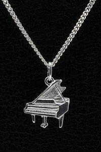 Zilveren Piano vleugel ketting hanger - vlak